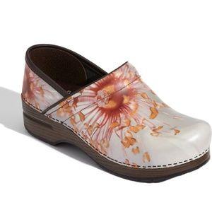 Dansko Professional Pink Poppy Floral Clog Shoes